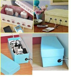 25 Projects to Show off Your Amazing DIY Skills: DIY- cable management Shoe-Box - Diy & Crafts Ideas Magazine Ideas Prácticas, Decor Ideas, Cord Organization, Cord Storage, Plastic Storage, Cable Storage, College Desk Organization, Small Bedroom Organization, Organizing Your Home