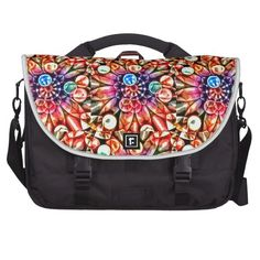 Bright Multicolor Flower Kaleidoscope Laptop Bag This bright flower kaleidoscope features many rich colors and shapes. Colors include orange, purple, blue, yellow, dark pink, purple, light brown and forest green. The unique effect is achieved with a color chrome overlay to make the design pop!