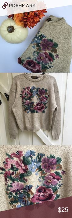 FALL ARRIVAL 🍁🍂 vintage floral eddie bauer crew vintage floral knit eddie bauer crewneck with floral design. size XL but is cute as a small/medium oversized. adorable chunky knit, so perfect for fall! in perfect condition. Vintage Sweaters Crew & Scoop Necks