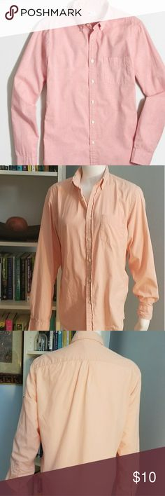 "J. Crew Sunwashed Oxford Button Down Shirt PRODUCT DETAILS  Color: Pink/Salmon  100%Cotton oxford Regular fit Button-down collar Machine wash Imported  No holes or stains  Tag Size:  S  Actual Measurements ...  Shoulder to Shoulder:17"" Armpit to Armpit:20"" Length (top to bottom):30"" Sleeve Length:26"" J. Crew Factory Shirts Casual Button Down Shirts"