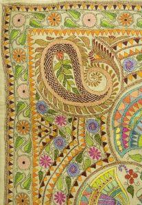 """Embroidery by """"She"""", a self help enterprise which trains women in rural areas and sells their kantha embroideries in Kolkata, India"""