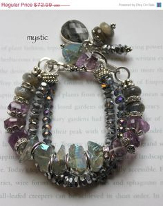 multi strand chunky charm bracelet, statement bracelet, amethyst bracelet, labradorite bracelet.....Mystic.