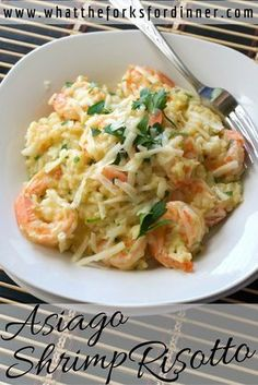 Asiago Shrimp Risotto - Electric pressure cooker makes quick and easy risotto. Loaded with shrimp, herbs and asiago cheese.