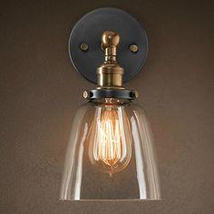 PureLume vintage antique copper-croche applique murale en cuivre antique avec ampoule edison ampoule vintage 40 w