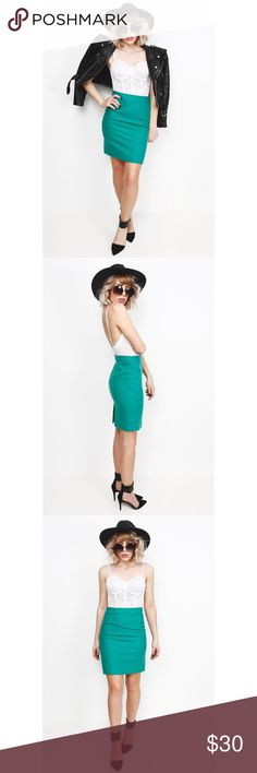 J. Crew Pencil Skirt This vintage J. Crew pencil skirt is made of soft brushed wool in the cutest mint green / turquoise hue. Dress it up with a blouse and pumps or down with a bralette and leather jacket. J. Crew Skirts Pencil