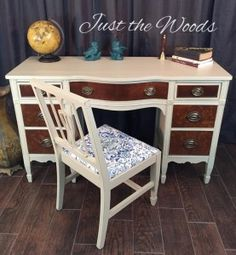 Refinished Hand Painted Burl Wood Desk by Just the Woods