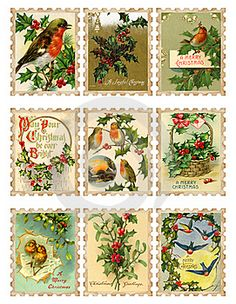 printable vintage Christmas stamps FEE to download