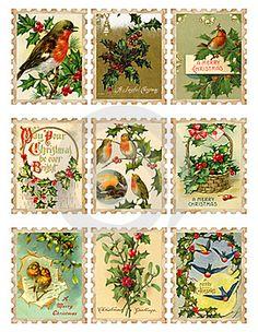 Woo-hoo...printable vintage Christmas stamps for previous pin gift wrap!