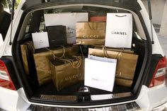trunk full of shopping bags <3