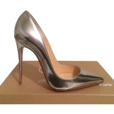 Pre-owned Christian Louboutin So Kate Patent Leather Eu 38 Us 7.5... ($650) ❤ liked on Polyvore featuring shoes, pumps, silver, silver high heel pumps, silver shoes, silver patent leather shoes, patent leather pumps and christian louboutin shoes