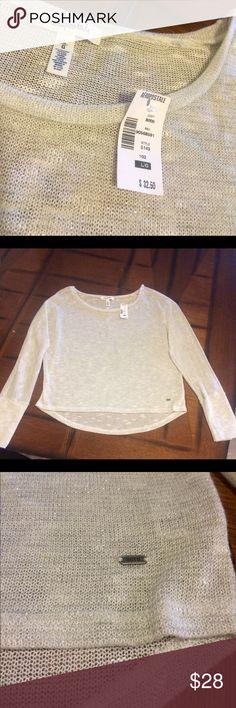 Aeropostale Sheer Sequin Sweater Beautiful Lt Grey Sheer, Long Sleeve Sweater w/Sequin.  Hi/Lo scoop appearance.  Brand new w/tags. Aeropostale Sweaters Crew & Scoop Necks