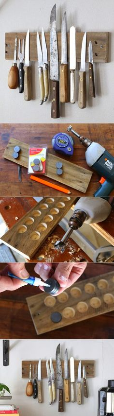 A DIY magnetic wall display in your kitchen of your favorite knives. Functional too!