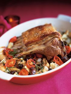 Roast rack of lamb with crushed potatoes