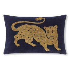 Tibetan Tiger Velvet Pillow Cover, Navy/Gold #williamssonoma