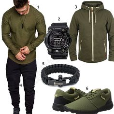 Grün-Schwarzes Outfit für sportliche Herren (m0623) #longsleeve #casio #gshock #paracord #supra #outfit #style #fashion #menswear #herren #männer #shirt #mode #styling #sneaker #menstyle #mensfashion #menswear #inspiration #cloth #clothing #ootd #herrenoutfit #männeroutfit