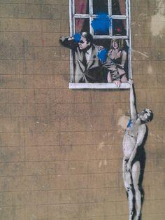 by banksy Naked men Bristol  Stencil Graffiti, Graffiti Art, Edgar Mueller, Banksy Mural, Jenny Holzer, David Zinn, World Street, Man Illustration, Illustrations