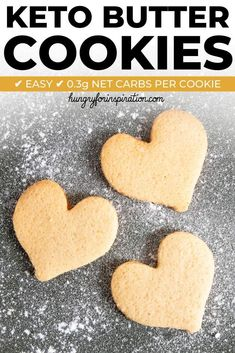 These Simple & Easy Keto Butter Cookies are the perfect Keto Holiday Cookies and will definitely bring back some childhood memories. Only 4 ingredients needed and only net carbs per cookie! Keto Friendly Desserts, Low Carb Desserts, Low Carb Recipes, Dessert Recipes, Yummy Recipes, Cookie Recipes, Cookie Ideas, Dessert Ideas, Halloumi