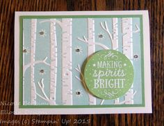 Festive holiday card made with Among the Branches stamp set and Woodland Textured Impressions Embossing Folder from Stampin' Up!
