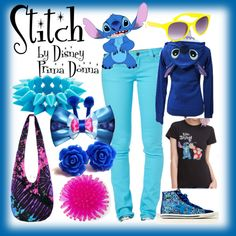 Casual Stitch Disneybound Outfit by disneyprimadonna on Polyvore featuring American Eagle Outfitters, Full Tilt, casual, disney, disneybound, stitch and disneyprimadonna