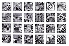 Digital Collage Sheet, 1 Inch Squares, Abstract Black and White Images, Zentangle Inspired Art PDF, Scrapbooking, Jewelry Making, Sheet 3. $3.00, via Etsy.