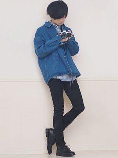 黒スキニーコーデ ギンガムチェックシャツ良いね!! 【LIDnM FINAL SALE S
