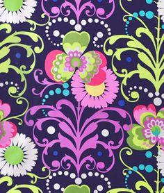 Amy Butler Paradise Garden Midnight Laminated Cotton Fabric