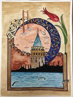 Gülay Altınok Islamic Paintings, Flamingo Art, Turkish Art, Yellow Art, Islamic Art Calligraphy, Art Sketchbook, Mandala Art, Collage Art, Folk Art