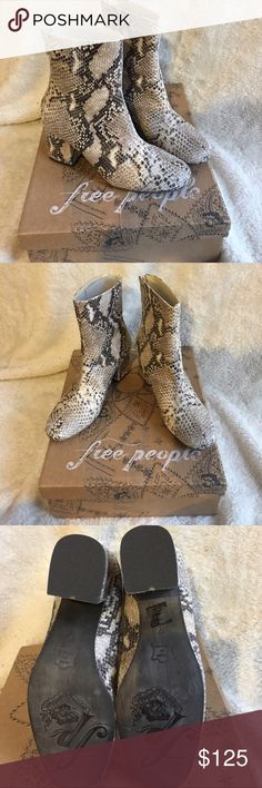 Free People Cecile Snake Print Boots - new w box! Never worn. With box Free People Shoes Ankle Boots & Booties