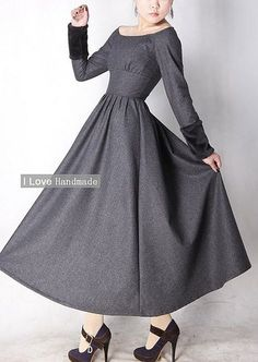 Gray wool dress winter maxi dress. The cuffs transform it.