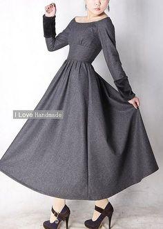 Gray wool dress winter maxi dress.