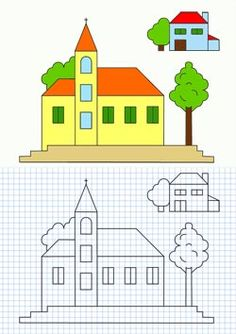 Con la ayuda de una hoja de papel cuadriculada y una regla, dibuja la iglesia, la casa y el árbol y despúes píntalo como se indica. Graph Paper Drawings, Graph Paper Art, Cute Drawings, Baby Drawing, Drawing For Kids, Art For Kids, Educational Activities For Kids, Teaching Activities, Pixel Drawing