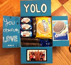 "So I am not a fan of this saying and constantly say ""You obviously love oreos"" whenever someone says it sooo I decided to make a care package themed YOLO for my good friend who just left"