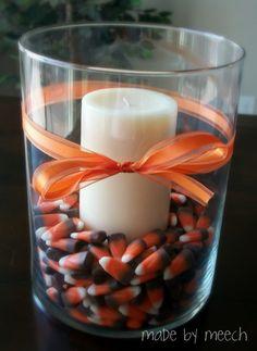 fall centerpiece crafts   Made By Meech: Candy Corn Centerpiece