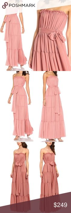"Jill Stuart Valentine Strapless Chiffon Gown Rose MSRP $385 Sold out!  Color Desert rose pink  About as feminine as it gets for a wedding gala prom or party! Jill Jill Stuart floaty maxi gown A-Line silhouette Ruffle trim Hidden back zip closure Optional bow tie belt Silicone edged lining  NWT; no flaws 100% poly Fully lined 100% acetate Dry clean  Measures flat approx Length 56"" (bustline to hem) Chest 8=16"" 10=17"" Waist 8=13"" 10=14"" Hips 8=25"" 10=26""  Offers warmly accepted; If we can't…"