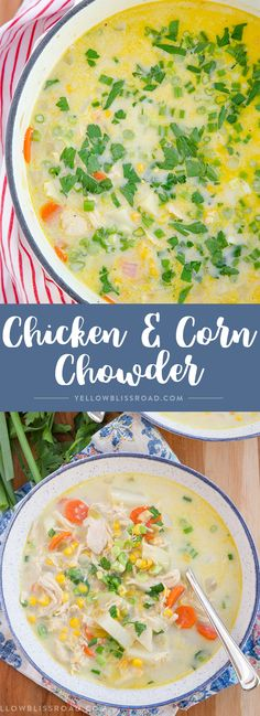 This Chicken & Corn Chowder is a hearty and creamy bowl of soup that comes together super quick in just one big pot making it perfect for busy weeknights. via @yellowblissroad