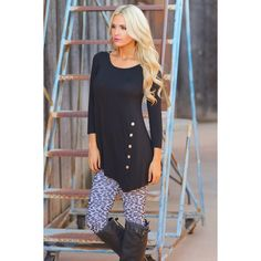 Black Asymmetric Button Top Size Large Brand new!!  Perfect top with leggings!!  Black color asymmetrical hem button top, 3/4 sleeves, 96% Polyester/4% Spandex Blend.  Size Large.  No Trades, Price Firm unless Bundled.  BUNDLE 3 OR MORE ITEMS FOR 15 % OFF Boutique Tops Tunics