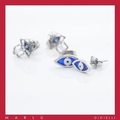 Orecchini in acciaio con la Mano di Fatima e evil eye della collezione #ManodiFatima. S. steel #hamsahand earrings, and evil eye earrings.