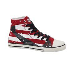 Κλασσικό, αλλά πάντα επίκαιρο το κόκκινο-μαύρο μποτάκι sneaker I-conv. Διαθέτει σόλα από καουτσούκ και πάνω μέρος από πανί. Πρακτικό, αποτελεί κατάλληλη και οικονομική λύση για καθημερινό σπορ ντύσιμο.