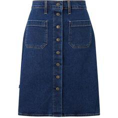 Levi's Button Through Denim Skirt, Indigo Velvet (525 HRK) ❤ liked on Polyvore featuring skirts, knee length denim skirt, denim skirt, a line button skirt, blue knee length skirt and button-front denim skirts