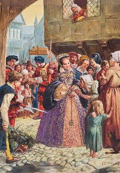 Mary Tudor, incognito in (almost) the same dress as her ladies, distributing alms to the barefoot poor. 1964 by Cecil Doughty. Is it disquieting that the guard's axe is pointed at her royal backside? Poor Mary - she is remembered as Bloody Mary, though her kill count was actually rather modest.