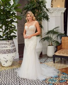 Style BL358 Amanda | Sexy Beaded Fit and Flare Wedding Dress from Beloved by Casablanca Bridal | Beloved By Casablanca Bridal Casablanca Bridal Gowns, Davids Bridal Gowns, Fit And Flare Skirt, Fit And Flare Wedding Dress, Strapless Lace Wedding Dress, Different Types Of Dresses, Silver Gown, Wedding Dress Pictures, Affordable Wedding Dresses