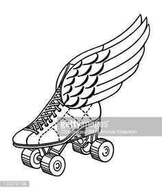 View top-quality illustrations of Winged Roller Skate. Find premium, high-resolution illustrative art at Getty Images. Roller Derby Tattoo, Free Illustrations, Illustration Art, Wonder Woman Drawing, Animal Body Parts, Roller Disco, Skate Wheels, Son Luna, Skater Girls