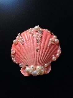 Coral Seashell Hair Clip by LandlockedM3rmaid on Etsy, $20.00