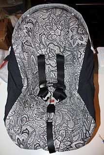 DIY car seat slip cover. Cover that ugly pattern. and not as much sewing as the other covers.