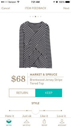 Market and Spruce Brentwood Jersey Stripe Tiered Top. Would like this in my 3rd fix.