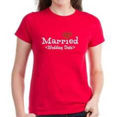 Cafepress Personalized Married (Add Your Wedding Date) Women's Dark T-Shirt, Size: XL, Red