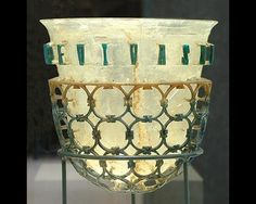 The Trivulzio cage cup (Coppa Diatreta Trivulzio), a gorgeous luxurious artisan-made product from the 4th century CE -- on display at the Civic Archaeological Museum of Milan, Italy