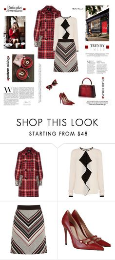 """""""Pattern Mix: Plaid Coats 23.03.17"""" by maitepascual ❤ liked on Polyvore featuring Miu Miu, Warehouse, Gucci and plaidcoats"""