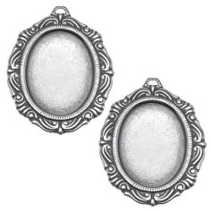 SILVER PLATED SCROLL EDGE OVAL BEZEL PENDANT STAMPINGS 18X25MM 2 from beadaholique.com