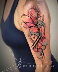 Magnolia Flowers Tattoo on Shoulder